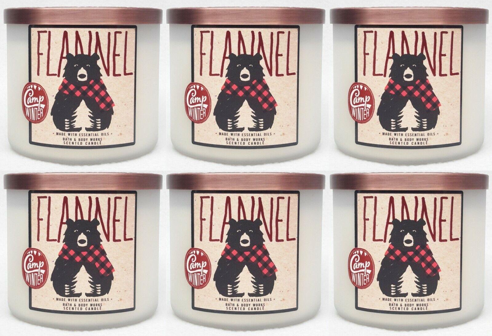 6 Bath & Body Works Flanell 3-Wick Parfümiert Groß Kerze