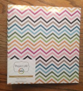 American Crafts Project Life Album 6 X 8 Multi color Chevron - Becky higgins