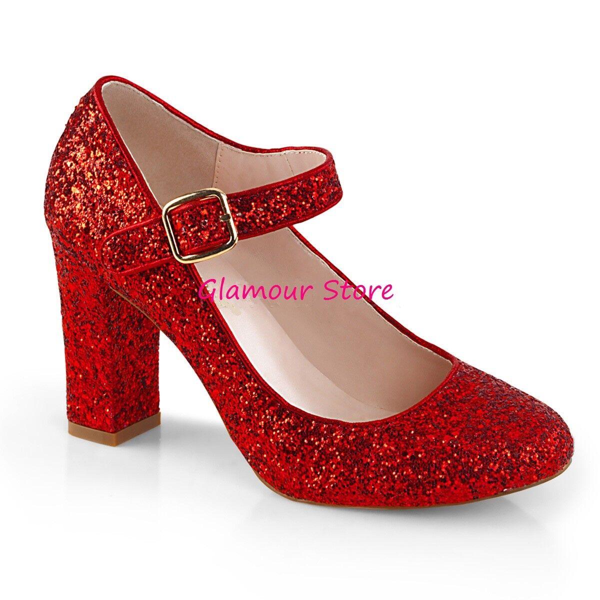 Sexy DECOLTE  GLITTER tacco 9 dal 35 al 42 ROSSO cinturino scarpe ... 418d8533c48