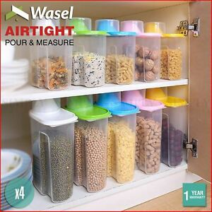 Wasel Plastic Dried Food Storage Containers Lids Box Jars Airtight Cereal Rice
