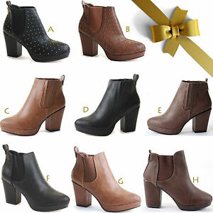 WOMENS-LADIES-HIGH-HEEL-BLOCK-PLATFORM-ANKLE-LOW-CHELSEA-BOOTS-BOOTIES-SIZE