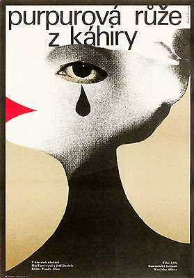 THE PURPLE ROSE OF CAIRO Amazing Rare Original Czech Poster WOODY ALLEN