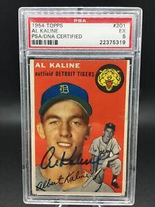 1954 topps #201 al kaline hof signed rc psa dna 5 - pop 8, only 4 higher!