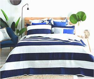 Quilted Modern Stripe Navy Blue White