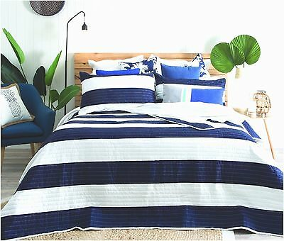 Quilted Modern Stripe Navy Blue White Bedspread Quilt Set Includes