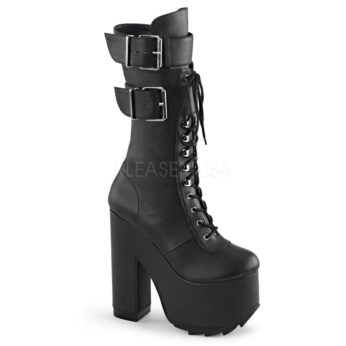6 1 4  Block Heel Ridged Platform Gothic Punk Double Buckle Calf High Boots