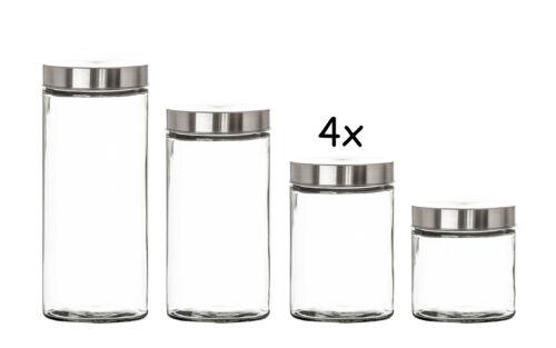 4er Set Vorratsgläser 1,25L mit Edelstahldeckel Aufbewahrungsglas Behälter Müsli