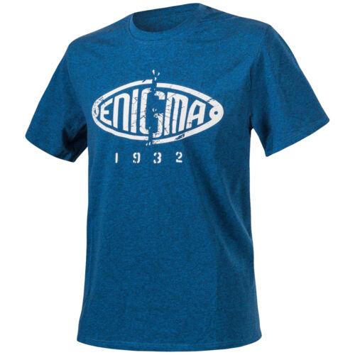 Helikon Enigma Logo Mens T-Shirt Graphic Top Printed Cotton Tee Melange Blue