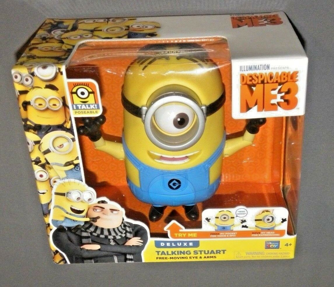 Despicable Me 3 ME3 ME3 ME3 Minion Deluxe Talking Stuart Figure Free Moving Eyes & Arms 246620