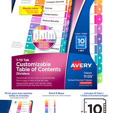Avery Ready Index Table Of Contents Dividers 10 Tab Set 1 Set 11135 10 Tabs