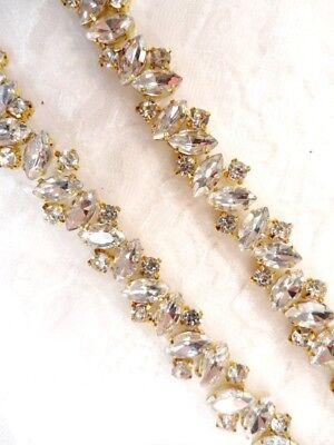 GB615 Crystal Rhinestones in Silver Silver Settings Elegant Sewing Bridal Trim