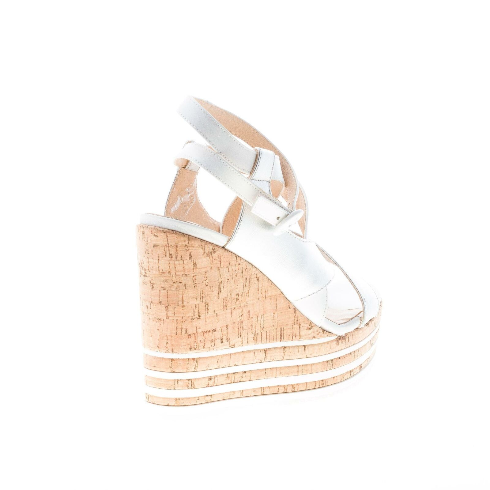 HOGAN femmes chaussures Wedge sandal front crossed crossed crossed argent and blanc leather straps 80b7eb