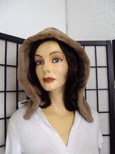 "NEW SHOWROOM SHEARED DEMI BUFF FUR HOOD (HAT) WOMEN WOMAN 16"" X 11"""