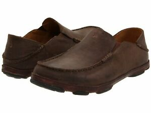 Olukai-10128-6348-Moloa-Dark-Wood-Dark-Java-Men-039-s-Slip-On-Shoes