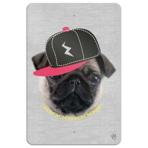 Tough Pug Puppy Dog in Cap Hat Home Business Office Sign  8f277320be9