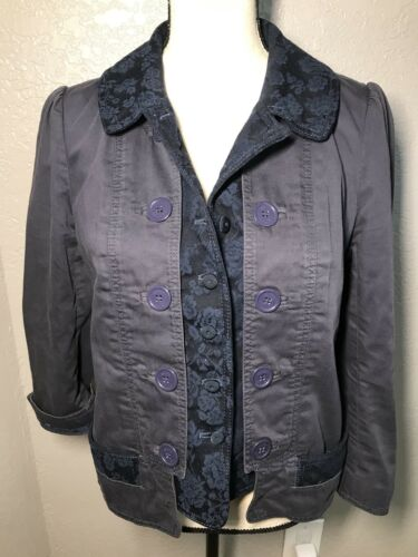 Solid Women's Button Blue Marc Blazer Jacobs Jacket Coat 10 Navy Floral Layered twqpH68xq