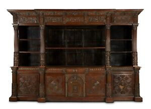 1600s-RARE-Carved-Bookcase-EARL-OF-MANSFIELD-Provenance-FDR-American-Ambassador