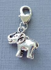 1pc ELEPHANT Clip On Charm Lobster Clasp Fit for Link Chain, floating locket M12