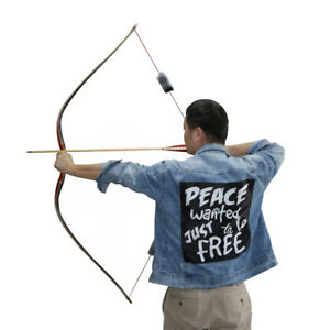 60/'/' Traditional Wood Longbow Archery Recurve bow and Arrows Target Bow 30-50LBS