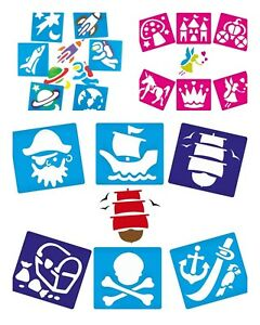 Pirates-space-fairy-plastic-stencils-washable-spaceman-rocket-unicorn-skull