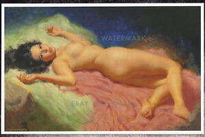 "1950's Earl Moran Authentic Pin-Up Poster Art Print ""Reclining Nude"" 11x17"