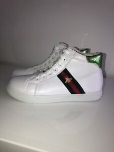 Gucci Ace Low Bee White Trainers Size