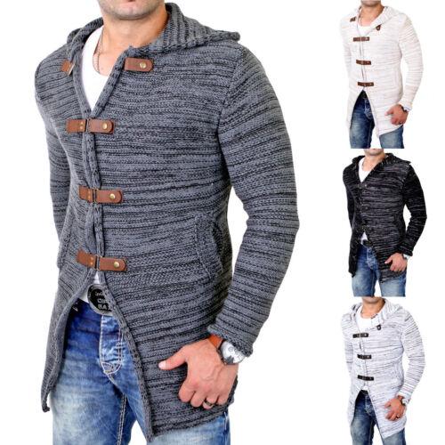 Tazzio Herren Strickjacke Lange Grobstrick Jacke mit Kapuze TZ-451 Neu