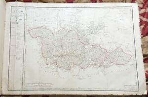 Dept-57-Carte-Originale-de-1790-1818-Gravure-sur-Cuivre-Aquarellee-82-x-56-cm