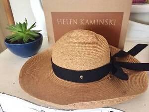 Beautiful Helen Kaminski Raffia Hat with Black Ribbon