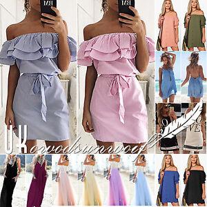 Womens-Holiday-Mini-Playsuit-Ladies-Boho-Jumpsuit-Summer-Beach-Dress-Size-6-20