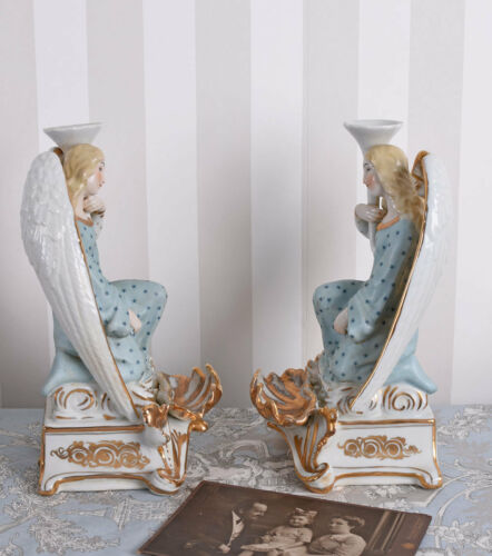 TWO CANDLE HOLDER ANGEL CANDELABRA CANDLESTICK FIGURINES ANTIQUE