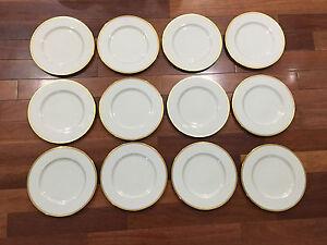 Lenox-Porcelain-Set-of-12-S8-White-amp-Gold-Encrusted-Dinner-Plates-10-1-2-034