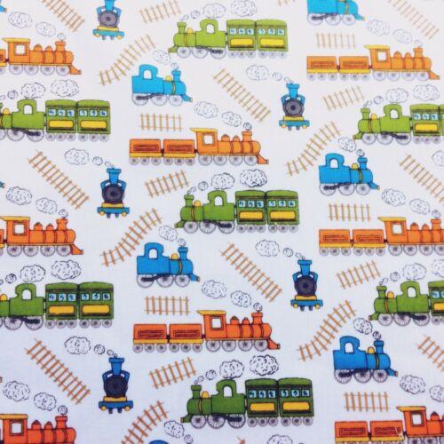 Boys WHITE Train Kids Poly-cotton Fabric 35 cm x 112 cm REMNANT OFFCUT BUNDLE