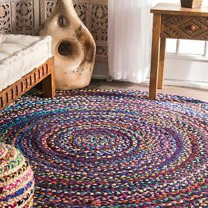 Rug 100% Cotton Hand Braided 4x4 Feet Reversible Modern Living Boho Area Rag Rug
