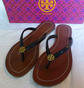 282682a84e6 Tory Burch TERRA Black Logo Flip Flop Thong Sandal Size 10 New In ...