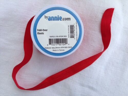 3 Meter Nylon-Gummiband aus USA:  by Annie fold-over elastic 20 mm breit rot