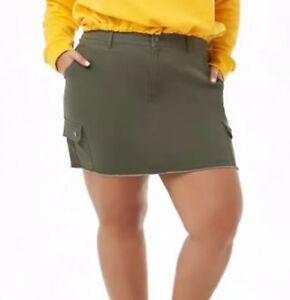 c89932e832 Forever 21 + Frayed Fringe Bottom Cargo Mini Skirt Olive Green Plus ...