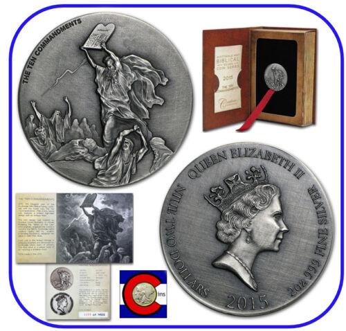 2015 Niue Ten Commandments 2 oz Silver Coin w// COA /& packaging Biblical Series