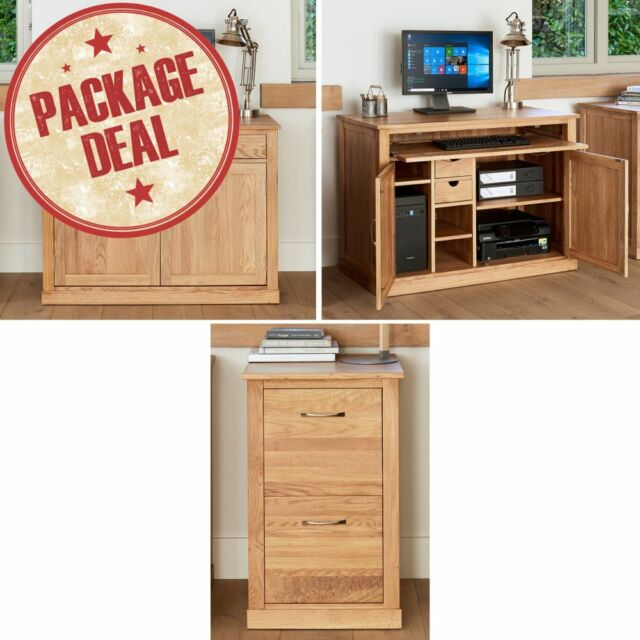 Mobel Solid Oak Home Office Furniture Hidden Desk And Filing Cabinet Package