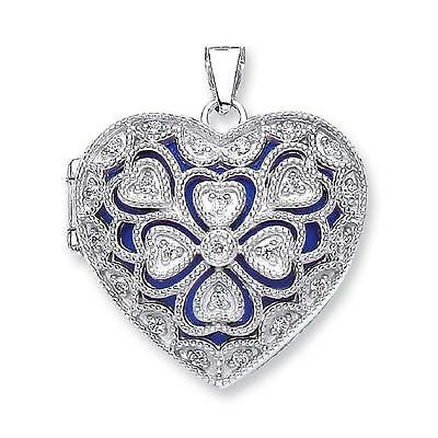 Sterling Silver 2 Photo Filigree Heart Shaped Locket With Cz/'s Blue Background