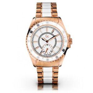 GUESS GC 47003L1 Wthite Ceramic   Rose Gold Tone Swiss Watch New ... e46ef0e7dd