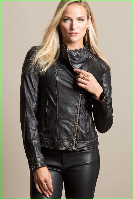 Women S Black Moto Style Genuine Leather Motorcycle Slim Fit Biker