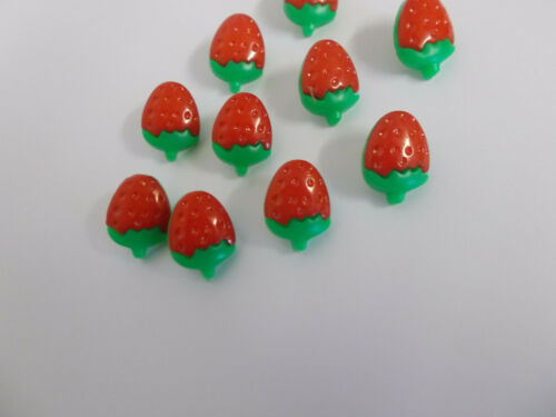 10 x Strawberry Buttons Baby Buttons Approx 15mm Shank Style Green and Red