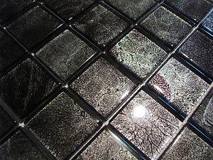 Glasmosaik mosaik fliesen klarglas metall silber purple schwarz bad pool dusche ebay - Mosaikfliesen silber ...