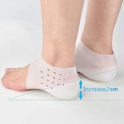 Invisible Increase 2cm Lift Heel Pad Brace Height Sock Relieve Fasciitis Unisex