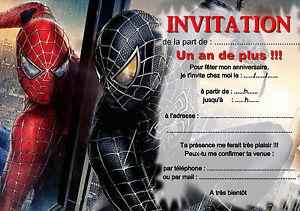 Detalles De 5 Ou 12 Cartes Invitation Anniversaire Spiderman Réf 266