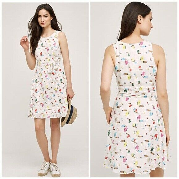 New ANTHROPOLOGIE SUNDAY IN BROOKLYN TOUCAN Dress Größe S  Small