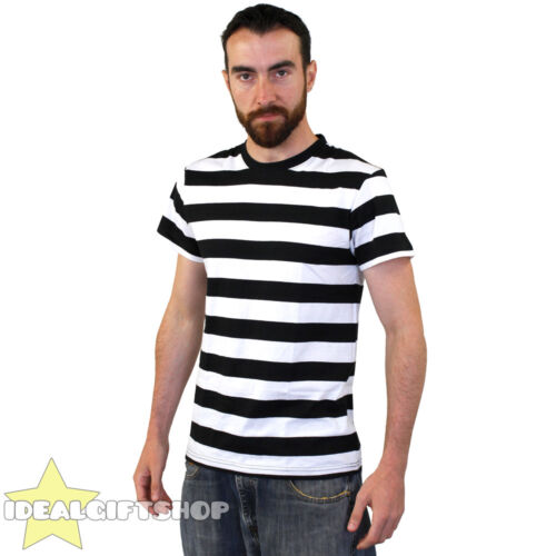 Details about  STRIPED T SHIRT TOP BLACK & WHITE FANCY DRESS SHORT SLEEVE 100% COTTON SXXL