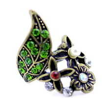 Vintage antique style bronze coloured leaf and flower ring with crystal, UK O