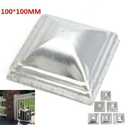 10pcs Square Metal Fence Gate Post Caps Flange End Covers 100MM